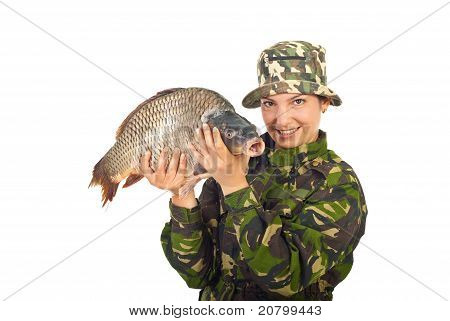 Angler Woman With Big Carp Captured