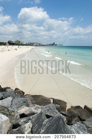 The sunny view of Miami South Beach (Florida).