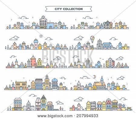 Vector Illustration Of Different Summer City Landscape On White Background. Set Of Urban European Re