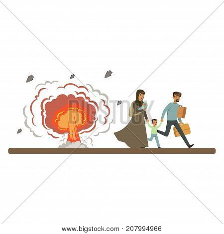 Stateless refugee family escaping from war with their little kids vector Illustration isolated on a white background
