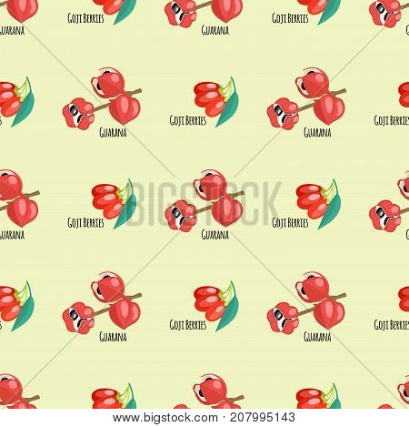 Goji berries guarana seamless pattern background red fruits dietary drawing energy food vector illustration. Healthy plant botany medicine antioxidant.