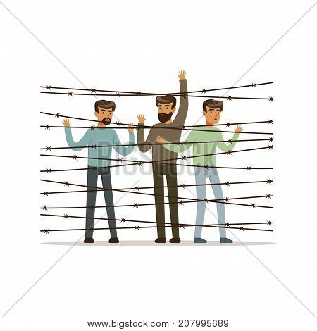 Stateless refugees facing the barbed wire fence, refugee camp, war victims concept vector Illustration isolated on a white background