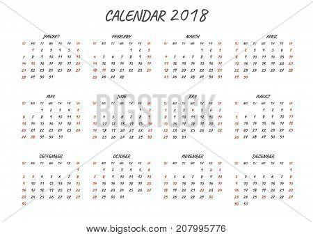 Calendar 2018.Regular font.Isolated on white background.Regular font.Vector illustration.
