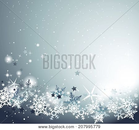 Christmas abstract background with snowflakes - vector illustration