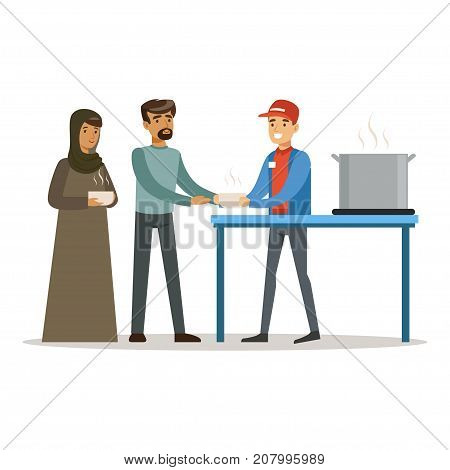 Stateless refugee family at food donation center, social assistance for refugees vector Illustration isolated on a white background