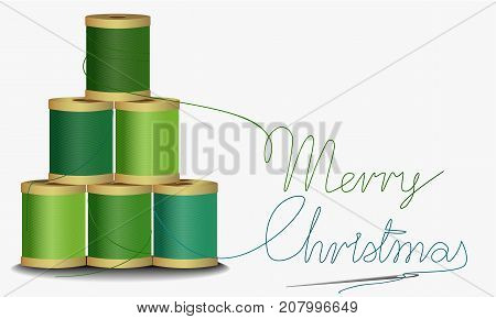 Christmas handcraft background with thread tree - vector illustration