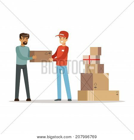 Volunteer helping refugee man, war victims concept vector Illustration isolated on a white background