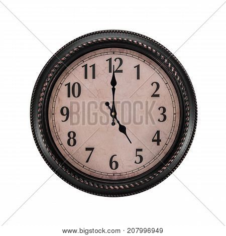 Ancient wall clock on a white background. Five o'clock in the afternoon or five in the morning on the clock.