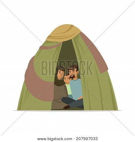 Stateless refugee family living in a camp, social assistance for refugees vector Illustration isolated on a white background