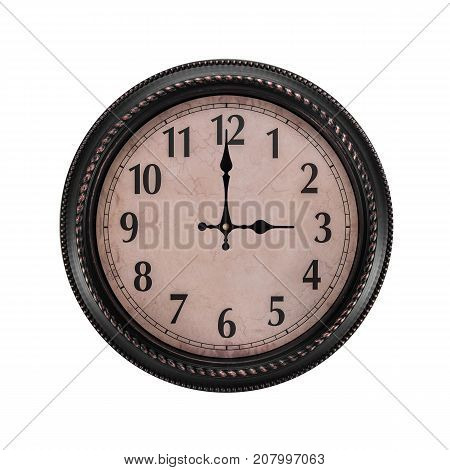 Ancient wall clock on a white background. Three o'clock in the afternoon or three in the morning on the clock.