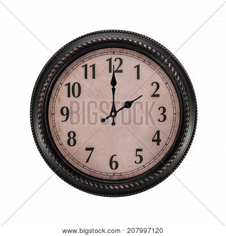 Ancient wall clock on a white background. Two o'clock in the afternoon or two in the morning on the clock.