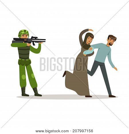 Stateless refugee family couple escaping from war vector Illustration isolated on a white background