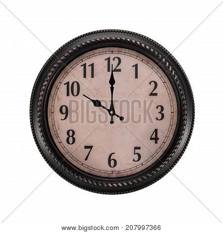 Ancient wall clock on a white background. It's ten o'clock in the morning or evening.