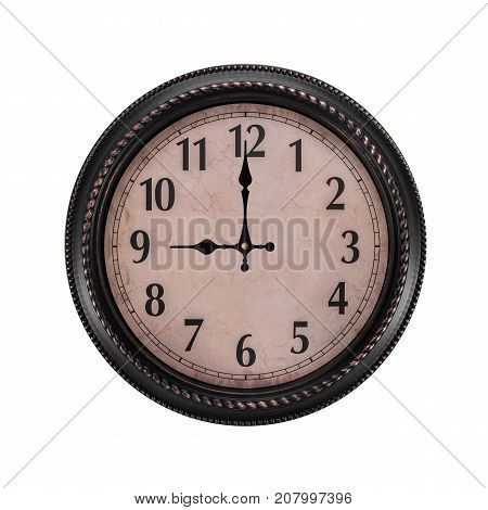 Ancient wall clock on a white background. It's nine o'clock in the morning or one in the evening.