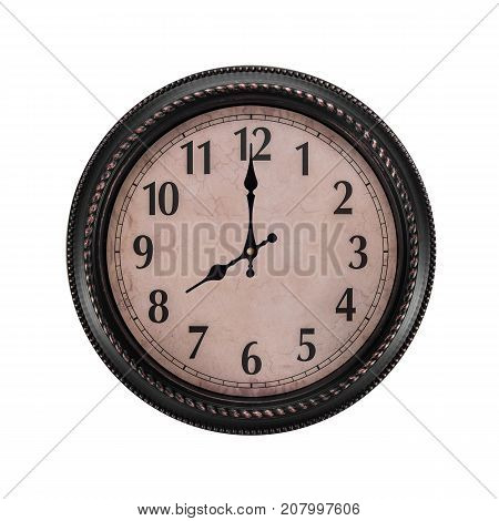 Ancient wall clock on a white background. The clock is eight in the morning or evening.