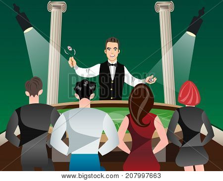 Casino and roulette with men women and croupier. Vector illustration