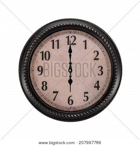 Ancient wall clock on a white background. Six o'clock in the morning or evening.
