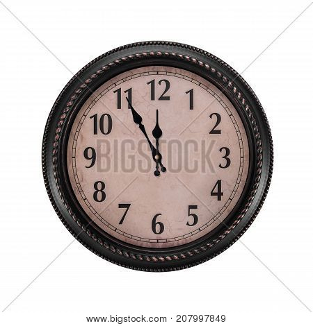 Ancient wall clock on a white background. Without five midnight on the clock.