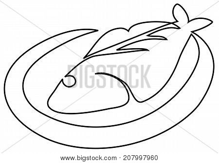 Fish on plate one line drawing - vector illustration
