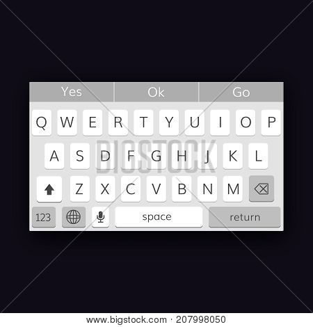 mobile qwerty keyboard  vector interface cellphone keypad