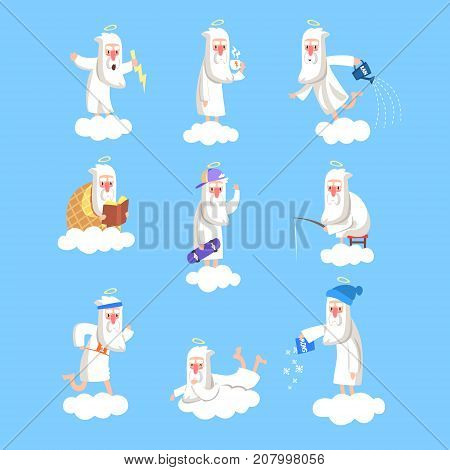 God character in action on cloud. Creator s daily routine. Heaven working days. Angry, drinking tea, playing, fishing, dancing, relaxing, snowing. Vector illustration for book, card, poster or badges