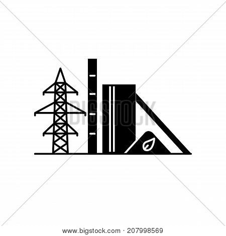 Biomass recycling plant silhouette icon in flat style. Renewable energy power station symbol isolated on white background. Alternative energy concept.