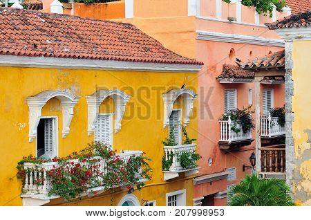 The picture present view on the colonial street in Cartagena