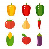 Vegetables food cellulose vector set peppers tomatoes porridge isolated healthy food concept. Organic plant vegetarian agriculture combination complementary tasty carbs nutritious fruits poster