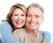 Senior smiling couple in love. Over white background. poster