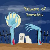 Beware of zombies poster with zombies hands in graveyard. Walking dead in cemetery at full moon vector illustration. Halloween banner with funny undead, festive horror event template. poster