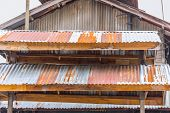 old vintage rust roof wood building rusty metal zinc sheet texture poster