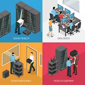 Datacenter 2x2 design concept of square compositions describing choice of equipment and work in server maintenance isometric vector illustration poster