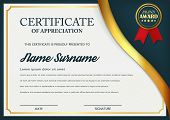 Creative certificate of appreciation award template. Certificate template design with best award symbol and blue and golden shapes and badge. Vector illustration. Eps 10. poster