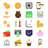 Business and finance icons set. B2c and b2b symbols. Pictures of money and coins. Finance money, coin and cash currency. Vector illustration poster