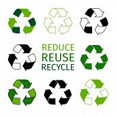 Reduce reuse recycle logotype set. Green arrows recycle eco symbols. Recycled materials vector icons poster