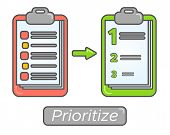 Time management goal priorities. Task priority plan concept design. Prioritize agenda. poster