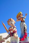 fallas from Valencia paper mache popular fest figures sculpture in Spain poster
