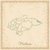 Honduras region map: stilyzed old pirate parchment imitation. Detailed map of Honduras regions. Vector illustration. poster
