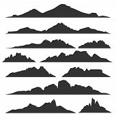 Mountain silhouettes overlook. Vector rocky hills terrain vector, mountains silhouette set isolated on white background for landscape design poster