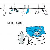 Rope with socks and clothespins. Folded sheets, towels and a detergent. Isolated symbols of laundry. Background for advertising, brochures, flyers. Hand drawn vector Illustration. poster
