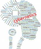 Cybernetics Word Cloud Text Illustration in shape of a human head circuit. Cybernetics brain chip keyword tags isolated vector. Transparent. poster