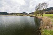 View alongside the shore of the Meerfelder Maar volcano lake in the Eifel Germany on an overcast spring day. poster