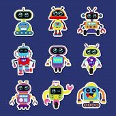 Fashion patch badges with robot robotics android toy robot with cute eyes Very robot large set of girlish and boyish stickers patches in cartoon isolated.Trendy robot print for backpacks thingsclothes poster