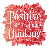 Conceptual positive thinking, happy strong attitude paint brush word cloud isolated on background. Collage of optimism smile, faith, courageous goals, goodness or happiness inspiration poster