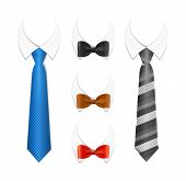 Realistic 3d Detailed Tuxedo Tie, Bow and Shirt Set Element Cloth For Ad, Invitation, Presentation. Vector illustration of Bowtie and Necktie poster
