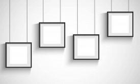 Vector 3d blank black hanging frames on white background