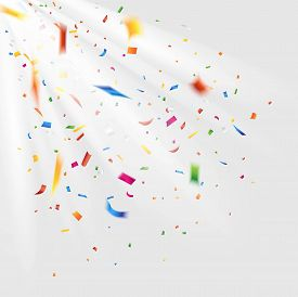 Colorful confetti. Falling confetti and light isolated on white background. Vector
