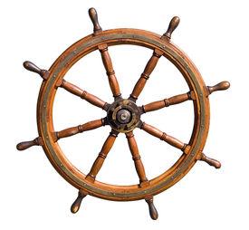 Old Seasoned Boat Steering Wheel Isolated On White Background