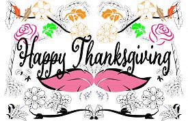 Happy Thanksgiving greeting card Celebrations background with hanging leaves