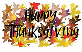 Happy Thanksgiving greeting card  with season leaves,